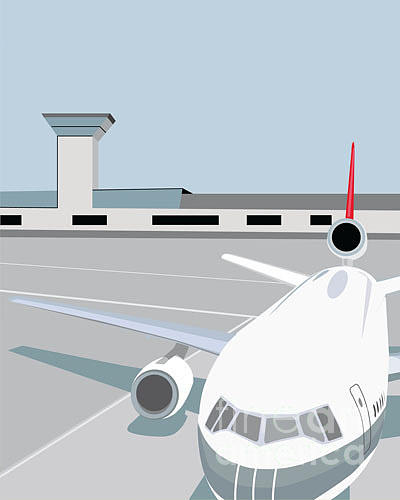 Flight Digital Art - Airplane At Terminal by Jibjibdesigns