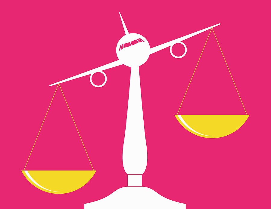 Air Travel Photograph - Airplane Balancing Scales Of Justice by Ikon Images