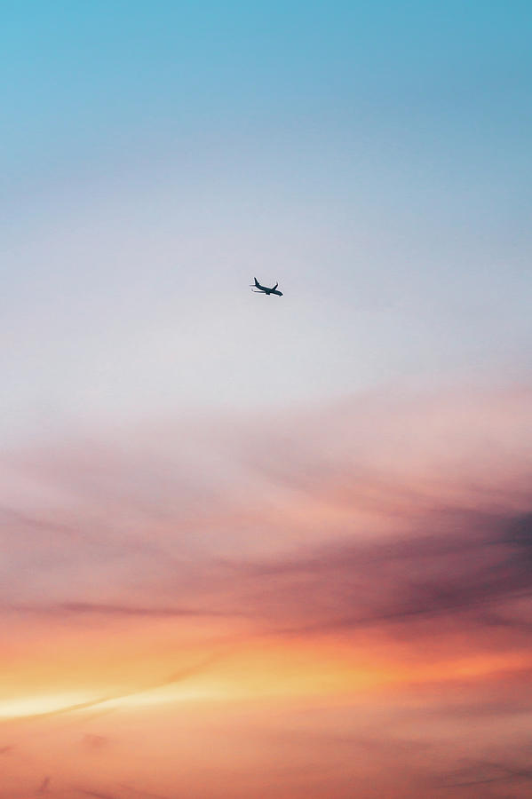 Airplane Flying Against Colorful Sunset Photograph by Miragec