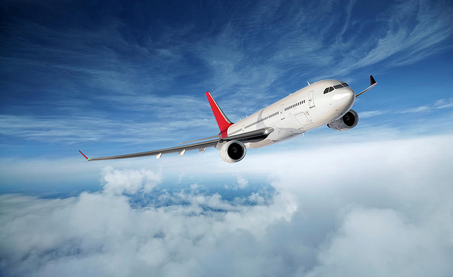 Airplane In Flight Digital Art by Aaron Foster