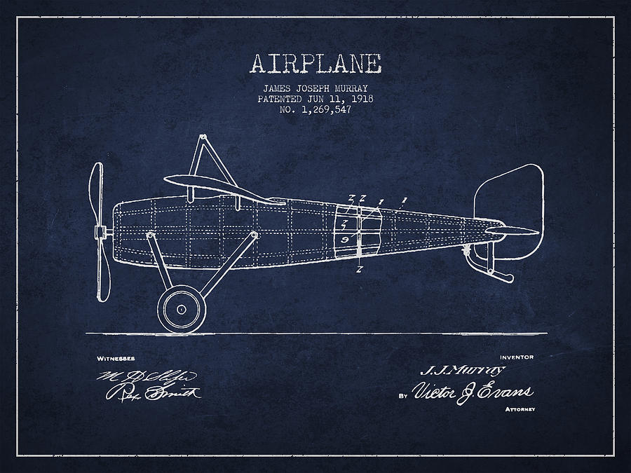 Airplane Drawing - Airplane Patent Drawing From 1918 by Aged Pixel