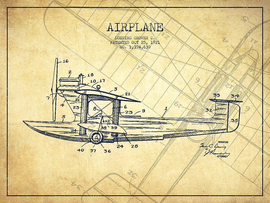Airplane Patent Drawing From 1921 Vintage Digital Art By