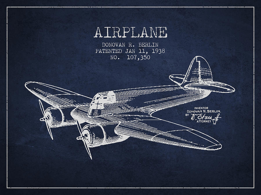 Airplane Patent Drawing From 1938 Digital Art