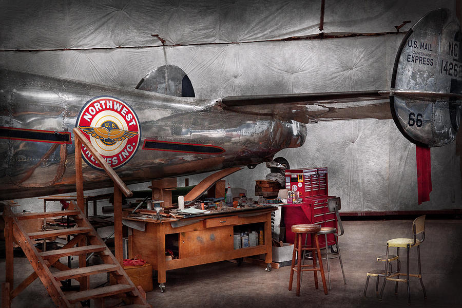 Plane Photograph - Airplane - The Repair Hanger  by Mike Savad