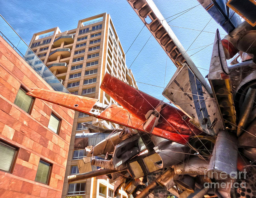 Moca Painting - Airplane Wreckage Sculpture Outside Museum Of Contemporary Art - 02 by Gregory Dyer
