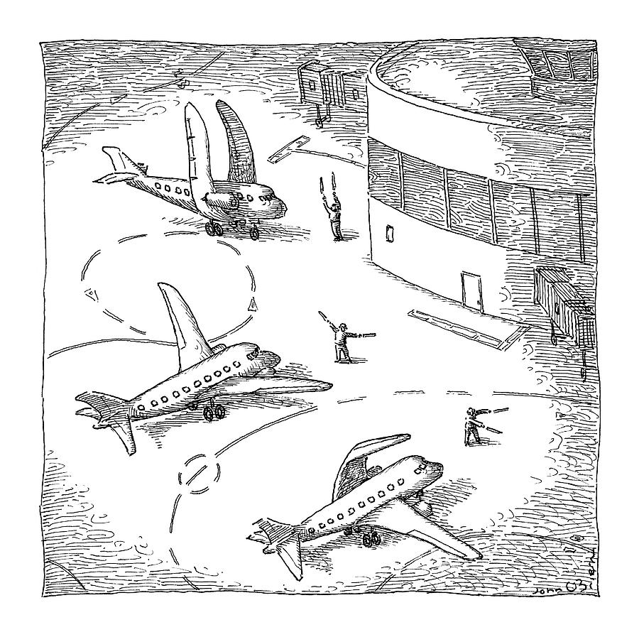 Airplanes On A Runway Match Their Wings Drawing by John OBrien