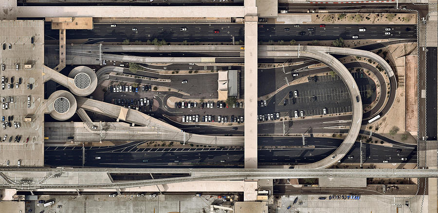 Airport  Building With Parked Cars Photograph by Nearmap