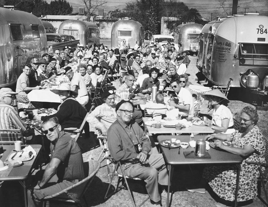 1950's Photograph - Airstream Trailer Gathering by Underwood Archives