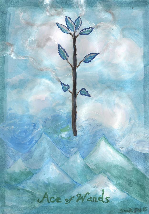 Tarot Painting - Airy Ace Of Wands by Sushila Burgess