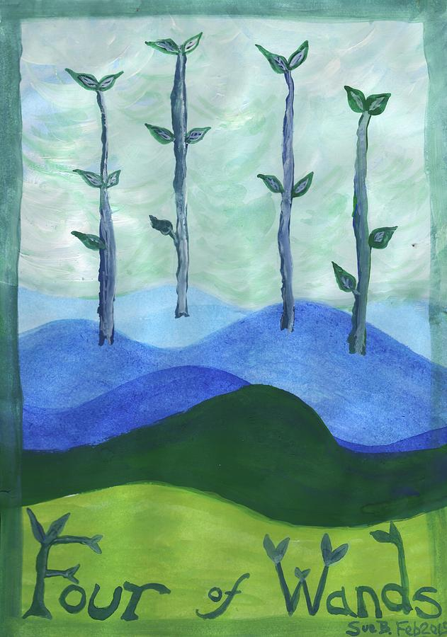 Tarot Painting - Airy Four Of Wands by Sushila Burgess