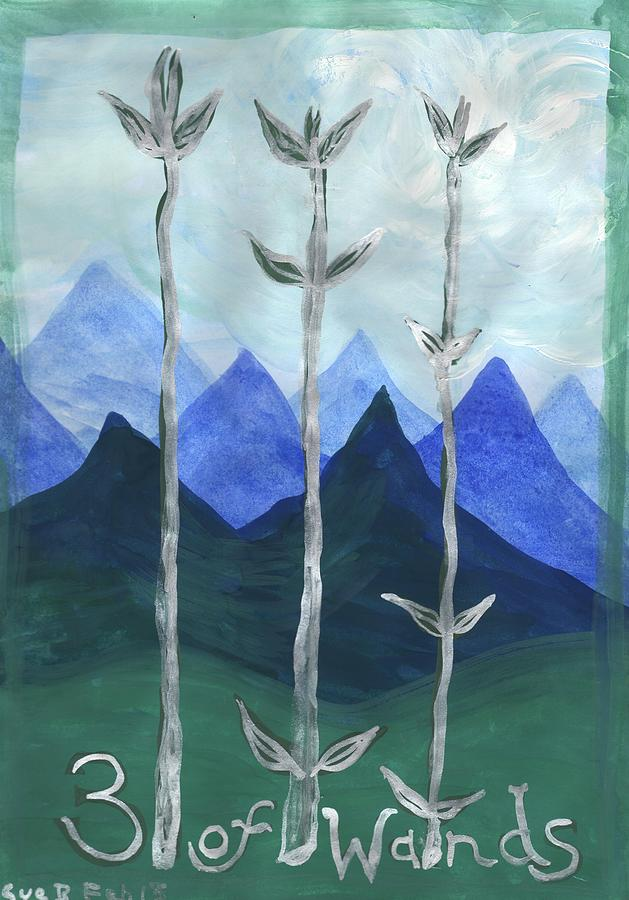 Tarot Painting - Airy Three Of Wands by Sushila Burgess