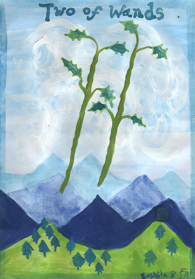Tarot Painting - Airy Two Of Wands by Sushila Burgess