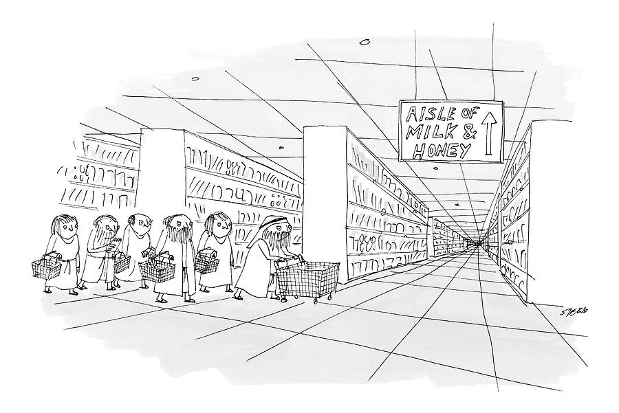 Aisle Of Milk & Honey Drawing by Edward Steed