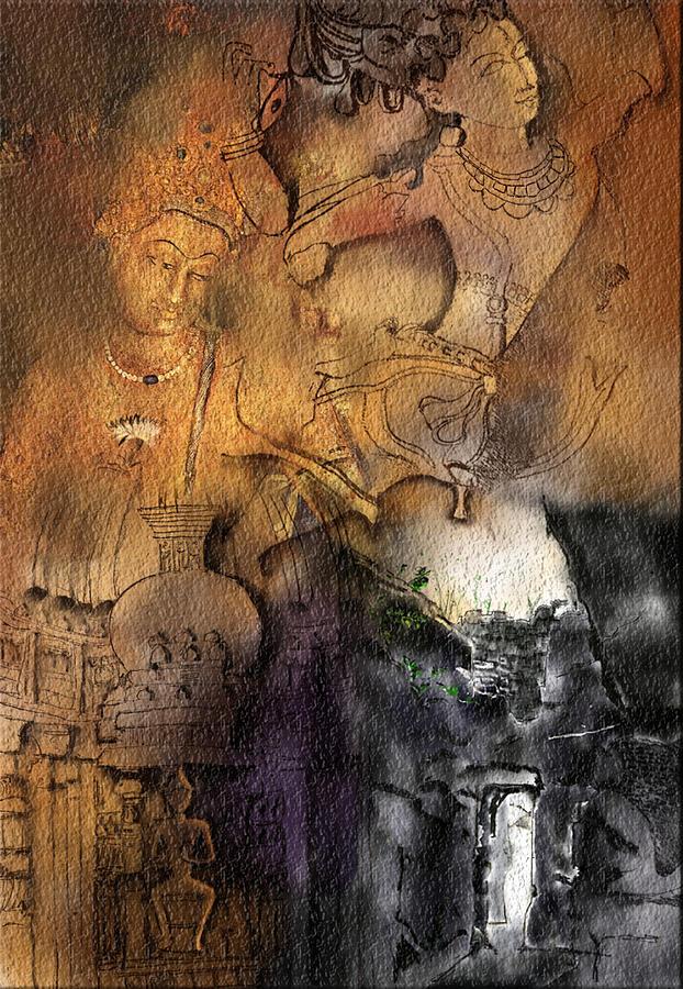 Buddha Digital Art - Ajantha by Nm