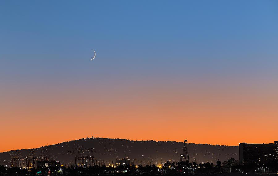Nature Photograph - Ajs Moonset Byu Denise Dube by Denise Dube