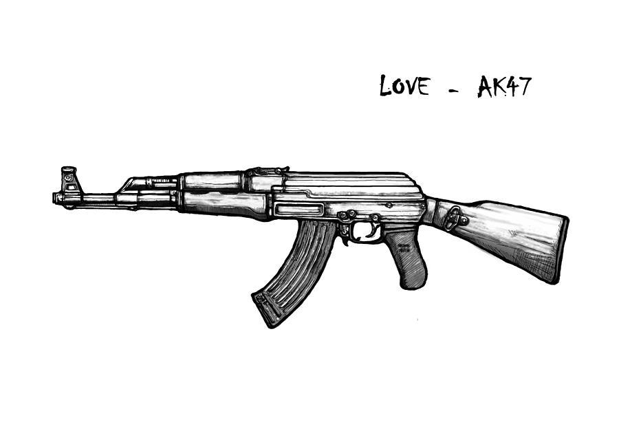 Ak 47 Gun Drawin Art Poster Painting By Kim Wang