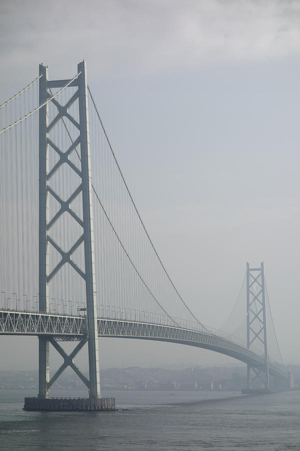 Bridges Photograph - Akashi Kaikyo Suspension Bridge Of Japan by Daniel Hagerman