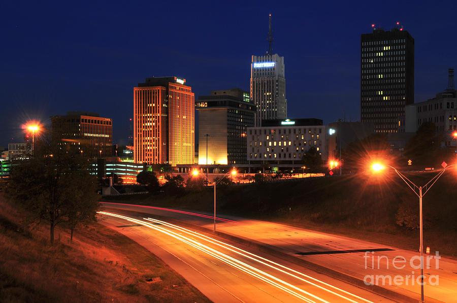 Akron Photograph - D1u-140 Akron Ohio Night Skyline Photo by Ohio Stock Photography