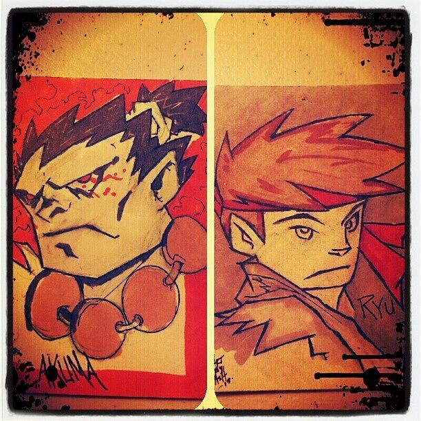 Capcom Photograph - Akuma Vs Ryu Sketchcard by Ashon Wynn