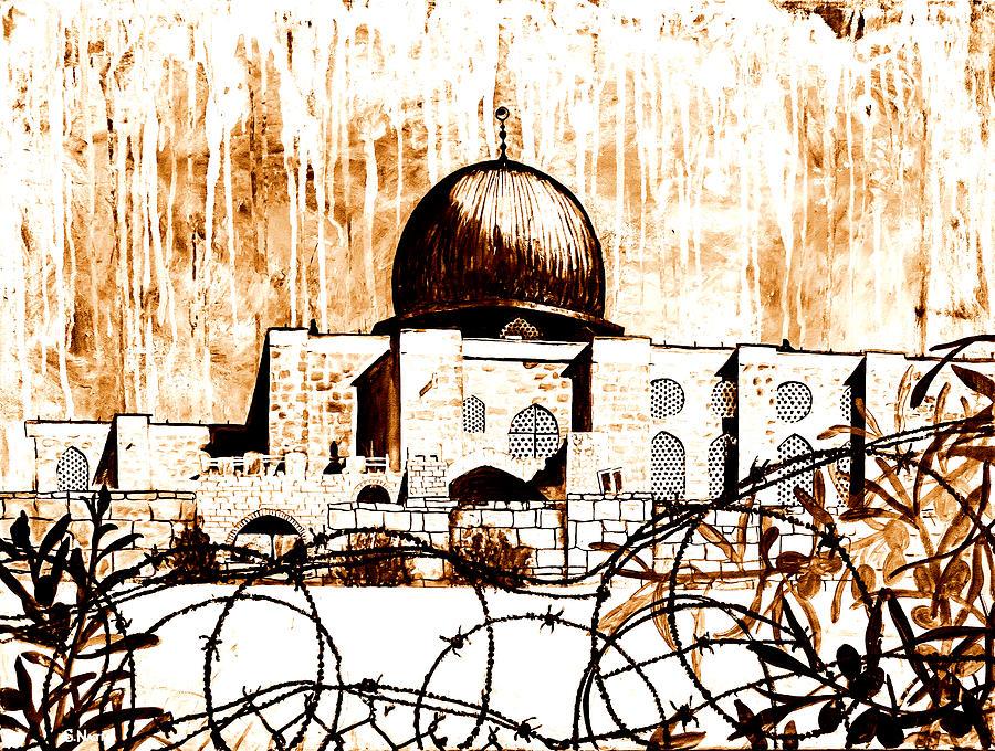 Gaza Painting - Al-asqa Mosque Palsetine- Mustard by Salwa  Najm