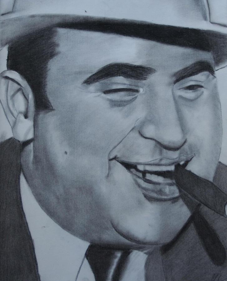 Mobster Drawing - Al Capone by Aaron Balderas
