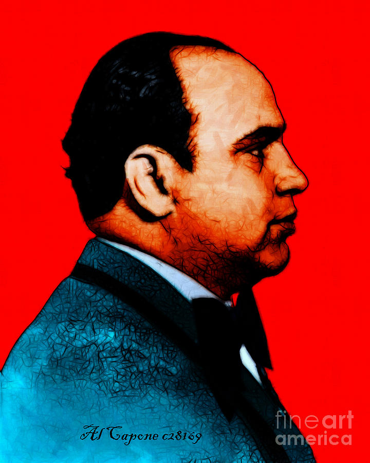 Celebrity Photograph - Al Capone C28169 - Red - Painterly - Text by Wingsdomain Art and Photography