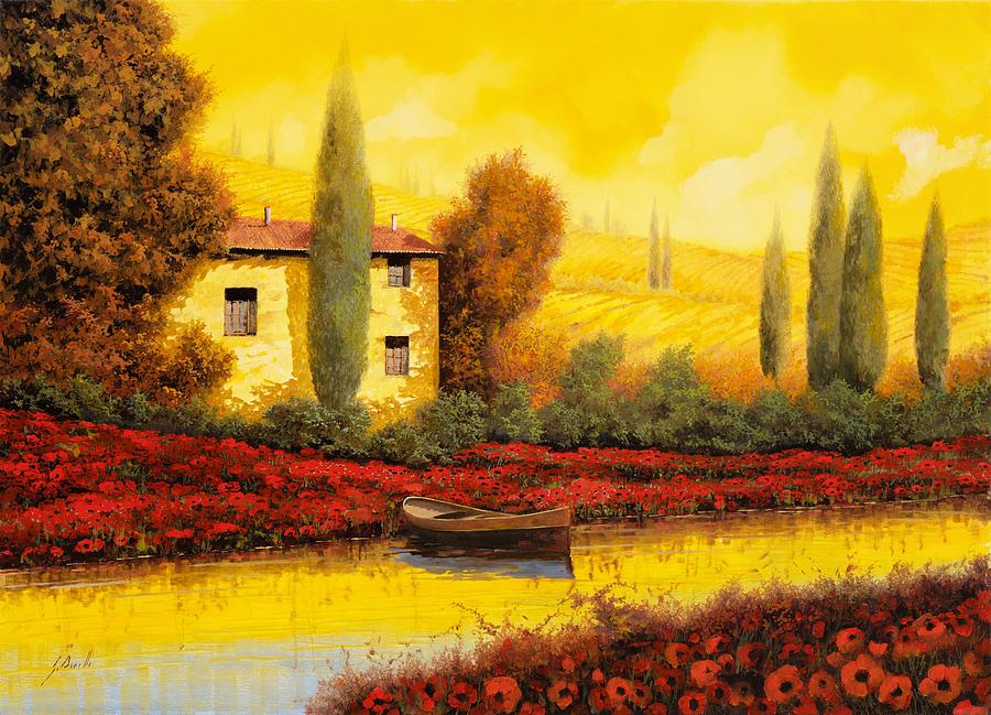 Guido Painting - Al Tramonto Sul Fiume by Guido Borelli