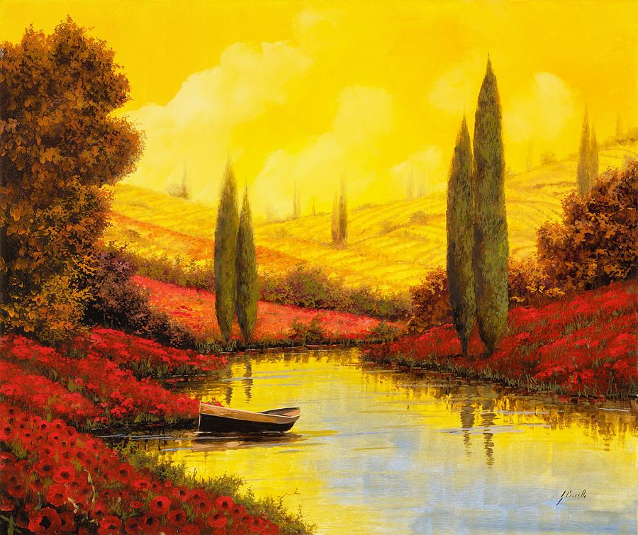 Yellow Sky Painting - Al Tramonto Sul Torrente by Guido Borelli