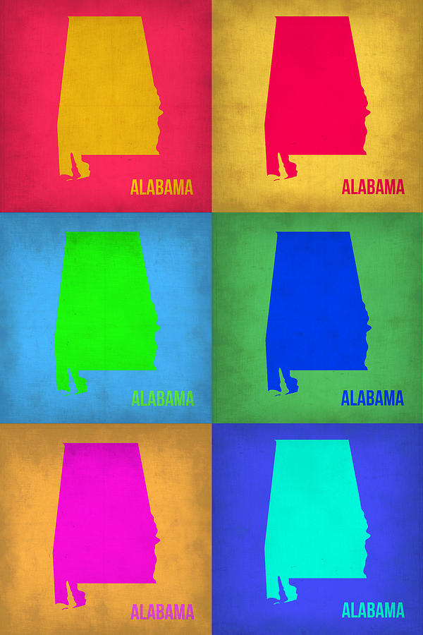 Alabama Painting - Alabama Pop Art Map 1 by Naxart Studio