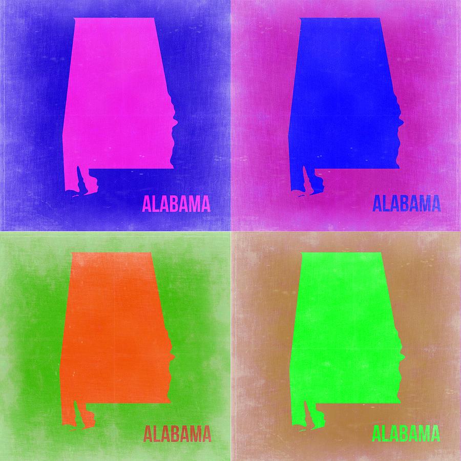 Alabama Painting - Alabama Pop Art Map 2 by Naxart Studio