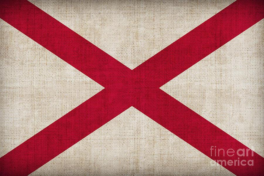 Alabama Painting - Alabama State Flag by Pixel Chimp