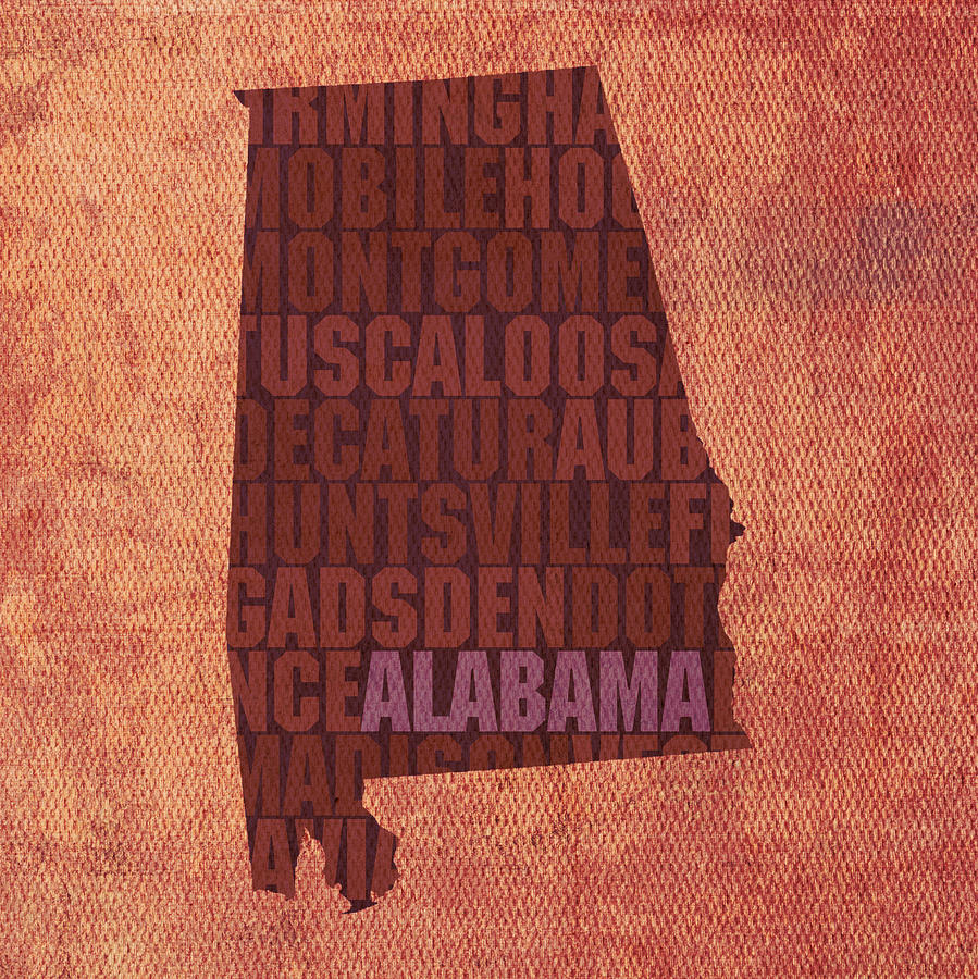 Alabama Word Art State Map On Canvas Mixed Media - Alabama Word Art State Map On Canvas by Design Turnpike