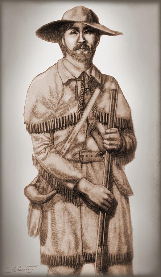 Alamo Drawing - Alamo Defender Frontiersman by Dan Terry