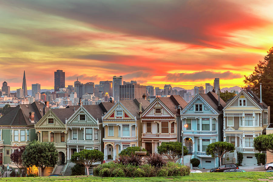 Alamo Square And Painted Ladies With Photograph by Spondylolithesis