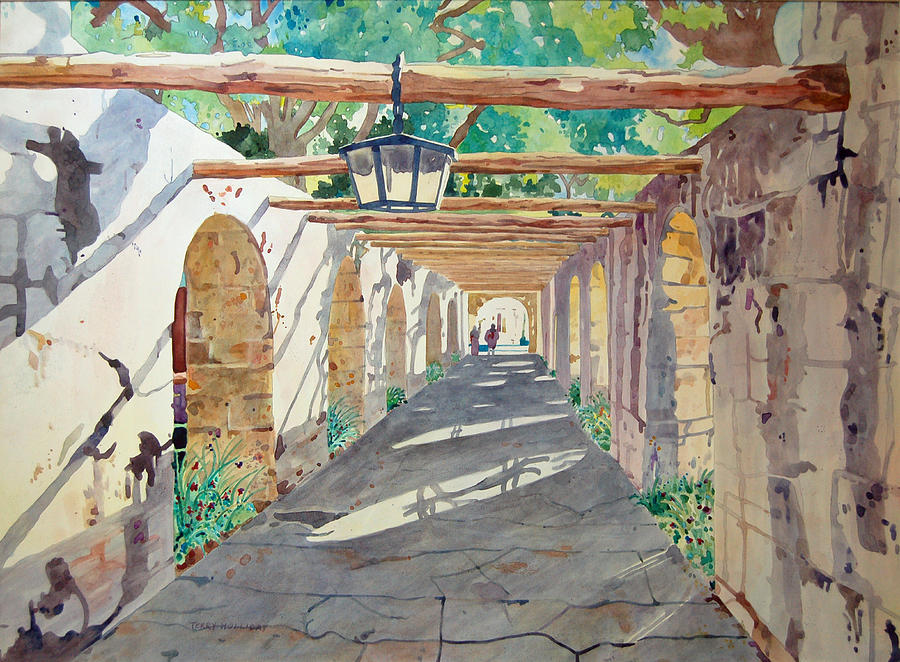 Alamo Painting - Alamo Walkway by Terry Holliday