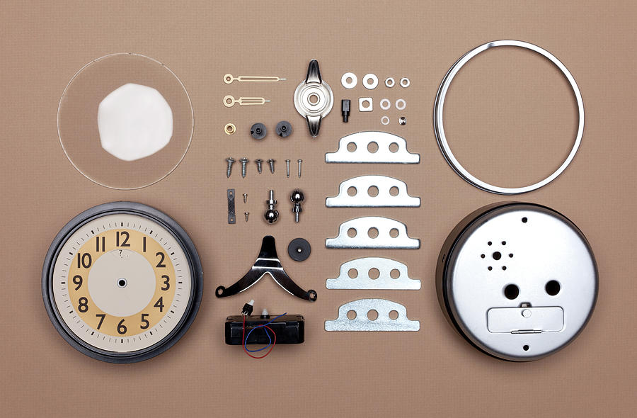 Alarm Clock Broken Down Into Individual Photograph by William Andrew