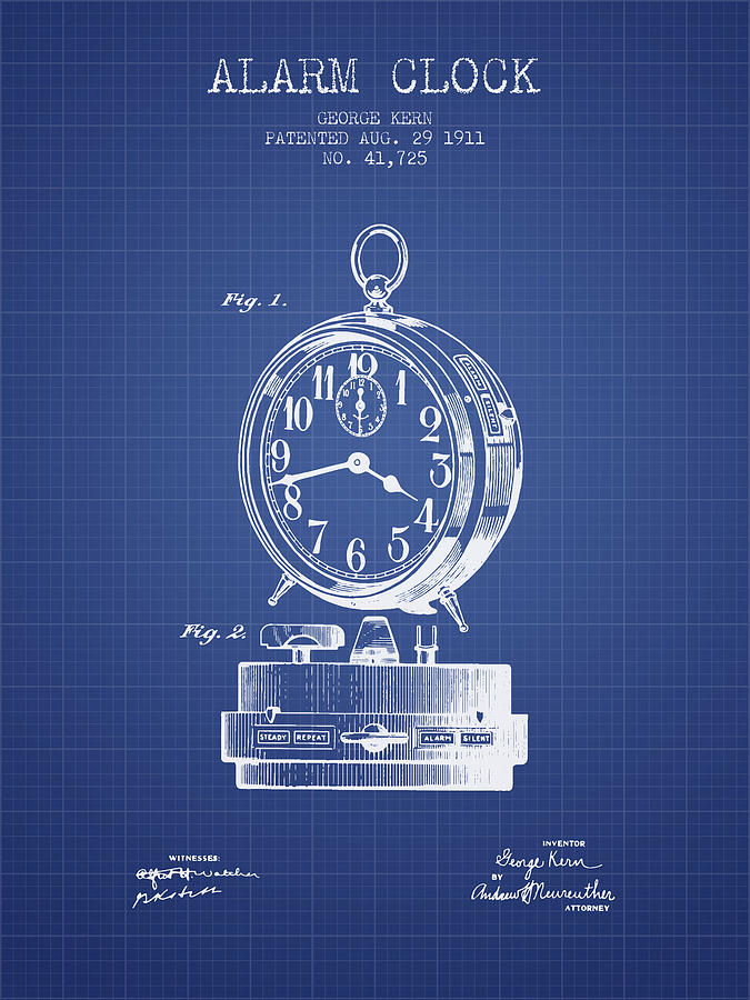 Alarm clock patent from 1911 blueprint digital art by aged pixel alarm clock digital art alarm clock patent from 1911 blueprint by aged pixel malvernweather Images