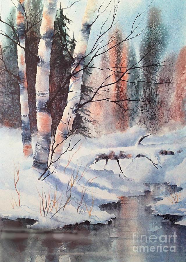 Watercolor Painting - Alaska Birch II by Teresa Ascone