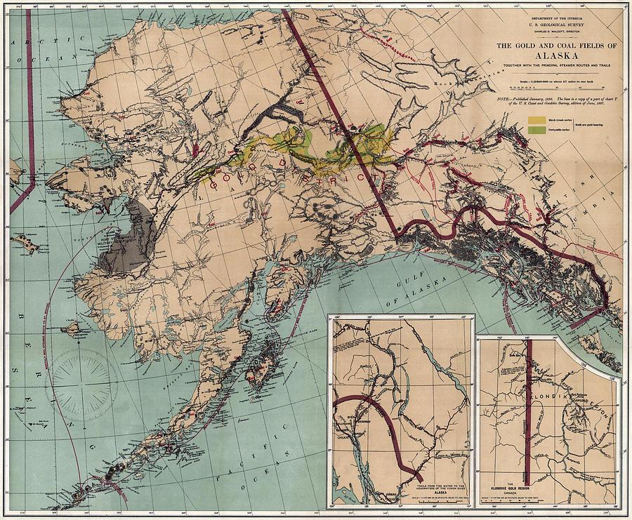 alaska coal and gold map 1898 photographcompass rose maps