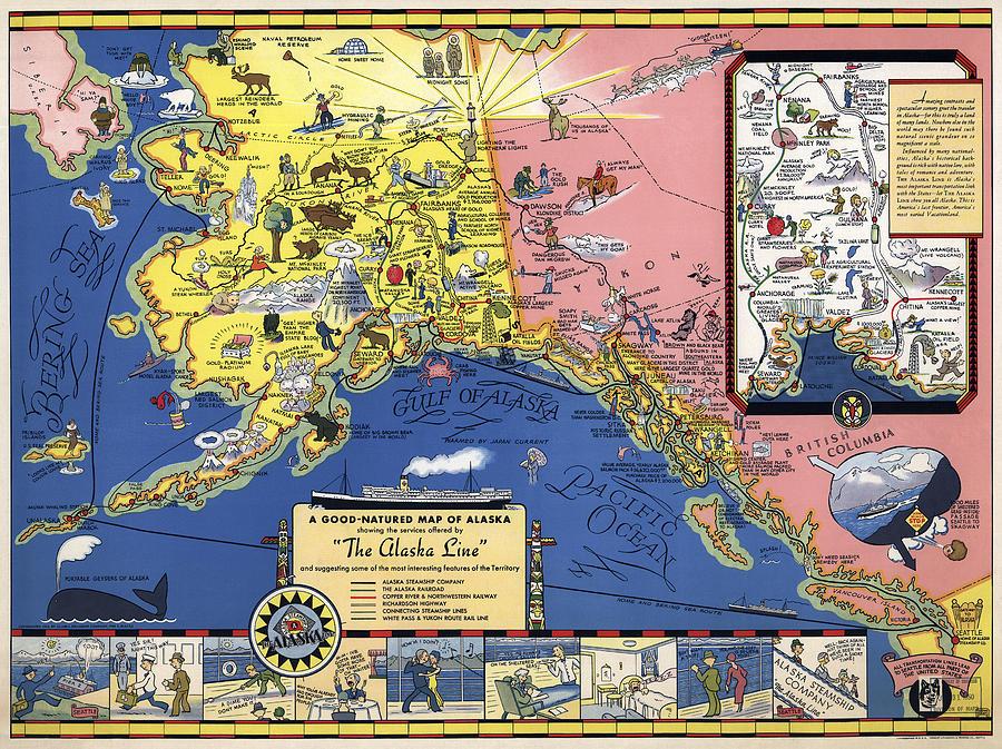 Alaska Fun Travel Map 1934 Photograph By Compass Rose Maps