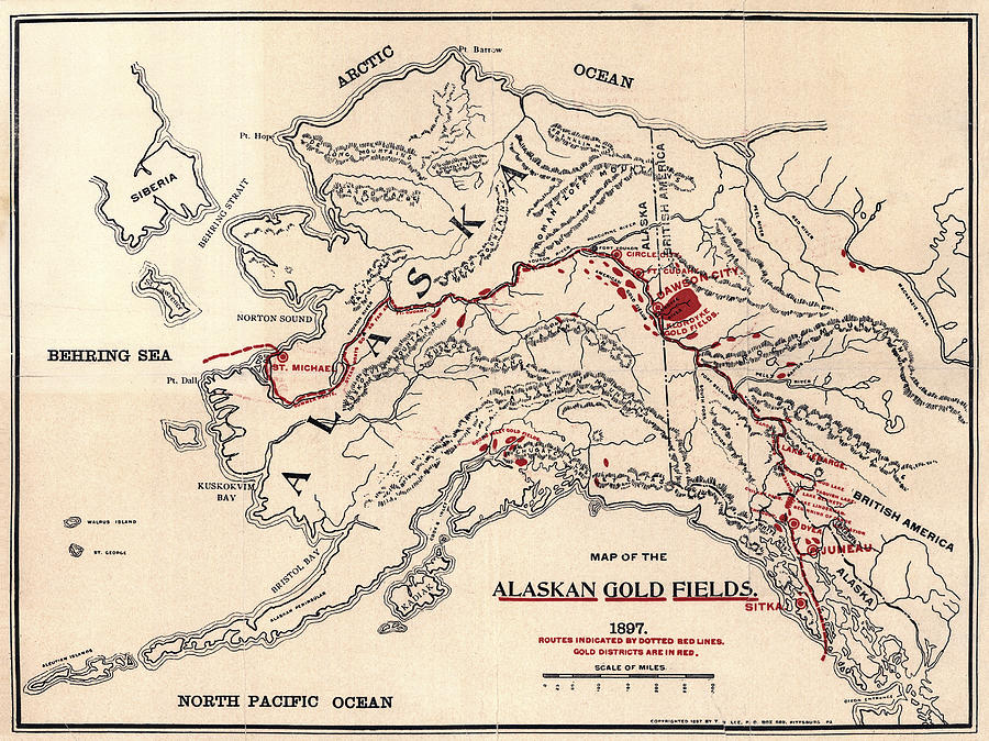 America Map With Compass.Alaska Gold Field Map 1897 Photograph By Compass Rose Maps