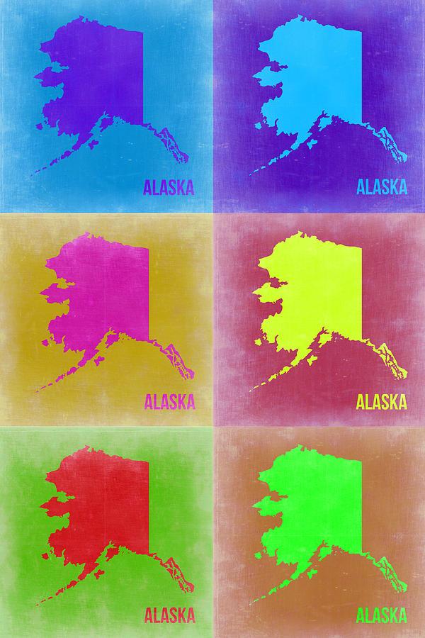 Alaska Map Painting - Alaska Pop Art Map 2 by Naxart Studio