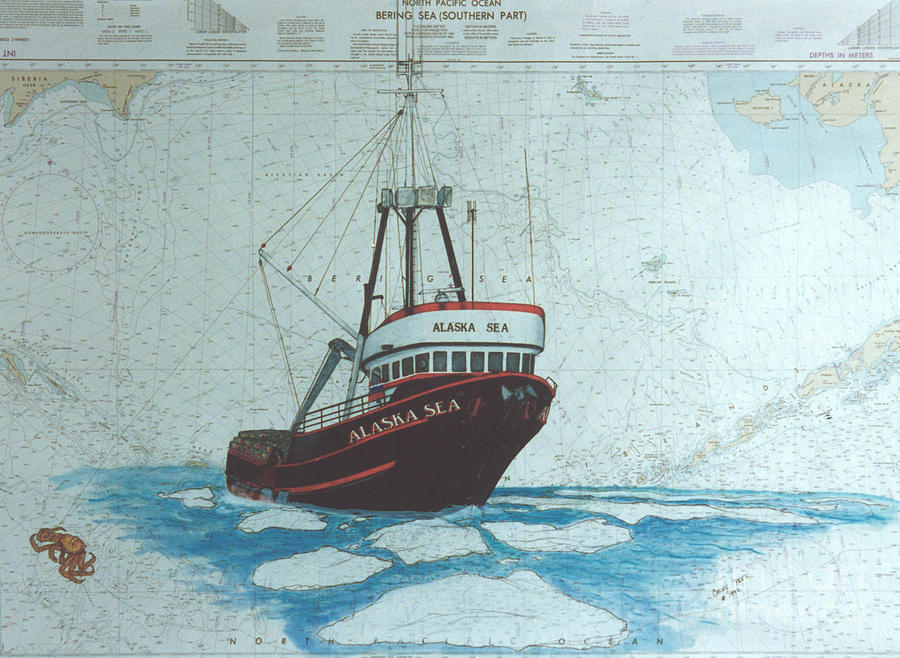 Alaska sea king crab fishing boat nautical chart art for Crab fishing boat