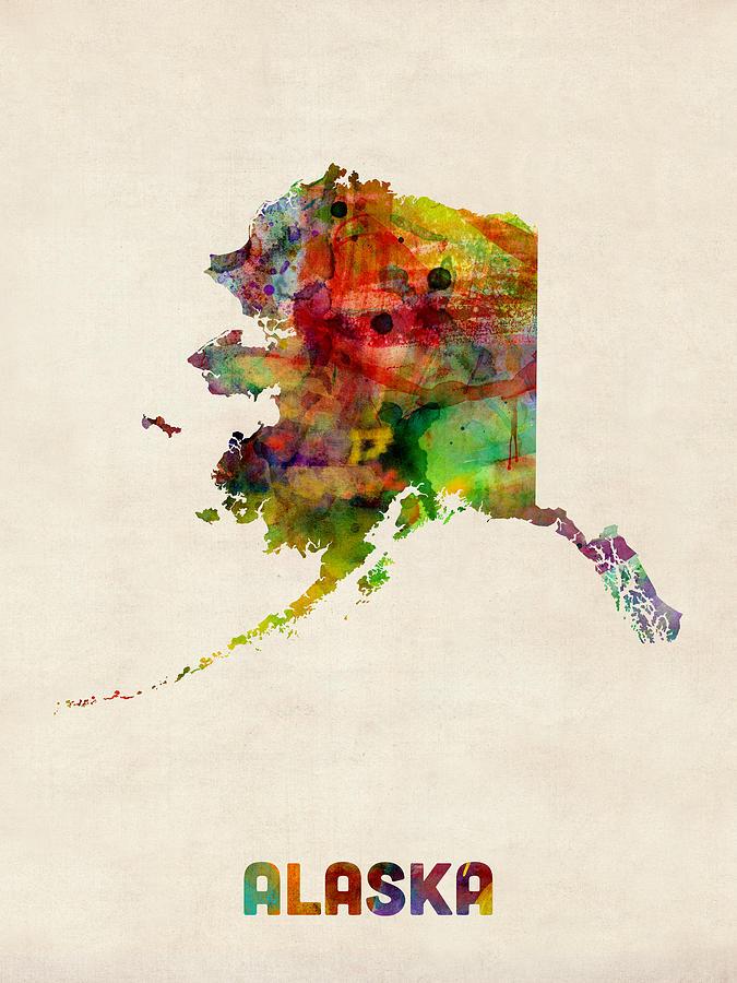 United States Map Digital Art - Alaska Watercolor Map by Michael Tompsett