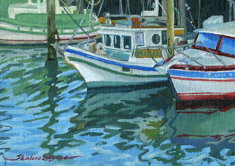 Boats Painting - Alaskan Boats In Rippling Water by Shalece Elynne