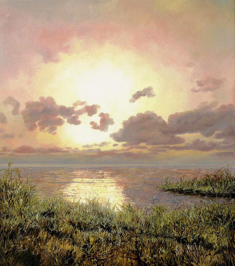 Sunrise Painting - Alba Nella Palude by Guido Borelli