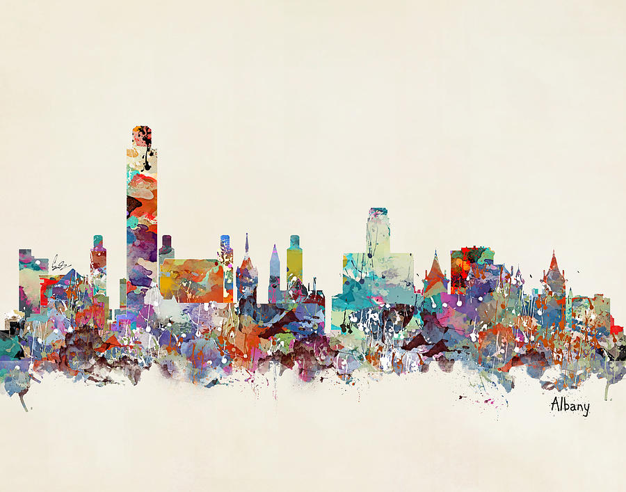 Albany new york skyline painting by bri b for New york skyline painting