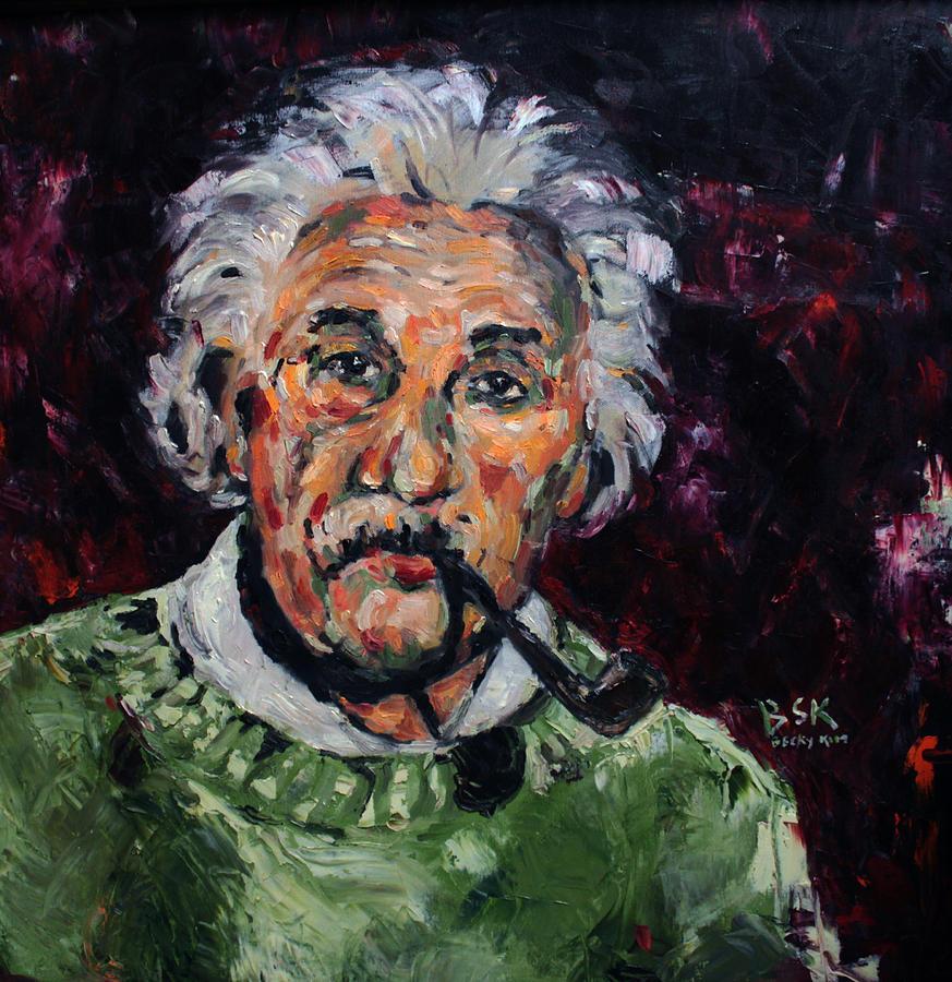 Oil Painting - Albert Einstein by Becky Kim