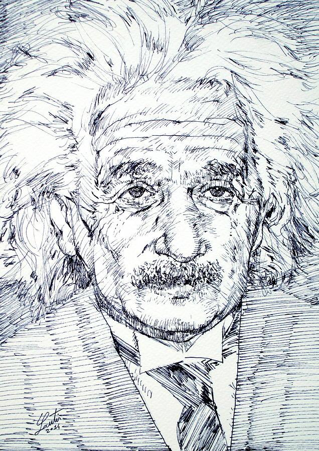 Albert Einstein Drawing - Albert Einstein - Drawing Portrait by Fabrizio Cassetta