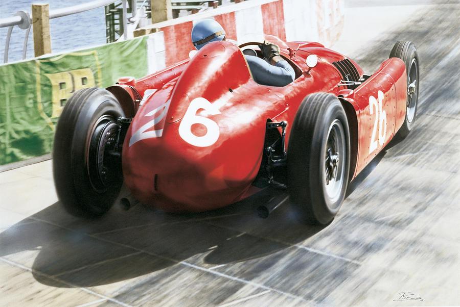 Ascari Painting - Alberto Ascari - Lancia D50 - Montecarlo 1955 by Alberto Ponno